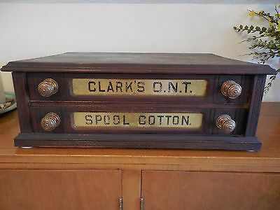 Antique Clarks O.N.T. Two Drawer Walnut Store Display Spool Cabinet