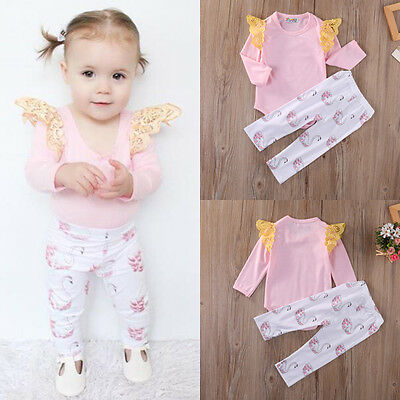 US Stock Infant Baby Girls Pink Romper+Swan Pants 2Pcs Outfit Set Clothes 3-6M