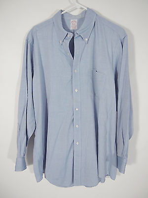 Brooks Brothers Makers USA Mens Blue Non-Iron Dress Shirt 17 1/2, 34