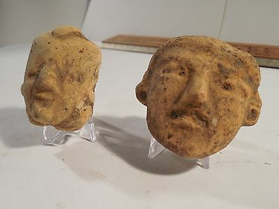 2 Nice Mayan Heads Pre-Columbian Archaic Ancient Artifacts Olmec Toltec Zapotec