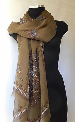 JAEGER  Women's Multi-Color Paisley  100 % Silk Scarf Made in Italy