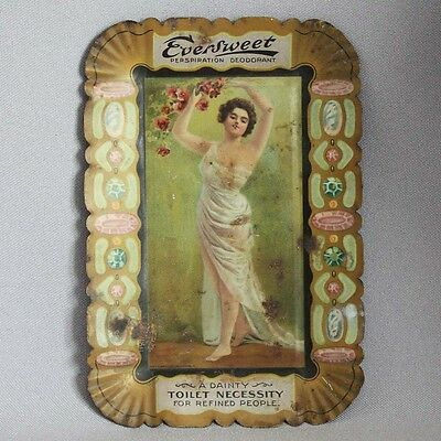 Antique Vintage EVERSWEET DEODORANT TIN LITHO Advertising TIP TRAY S.R. Fiel