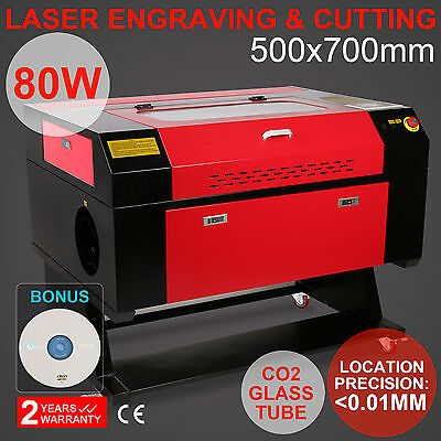 80W Co2 Laser Engraver Cutter Machine 700x500MM USB Port Woodworking HIGH LEVEL