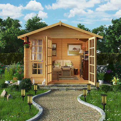 Classic Georgian Style Traditional Log Cabin Summer House Garden Shed 8x10 19mm