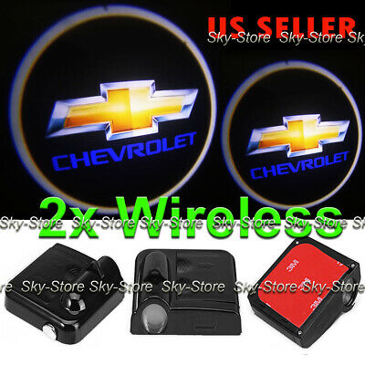 2x Wireless Ghost Shadow Projector Laser Logo LED Door Step Light Courtesy Chevy