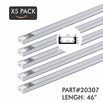 "x5 Pack 46"" 4Ft. Aluminum Profile/Channel for LED Strip/Tape Light Flush Mount"