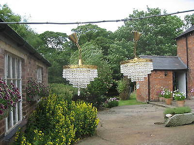 Pair Of Large 5 Drop Vintage Cut Glass Decorative  Waterfall Chandeliers /3936