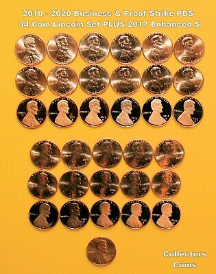 2010 - 2018 29 Coin COMPLETE P&D Uncirc/Satin + S Proofs Lincoln Shield Cent Set
