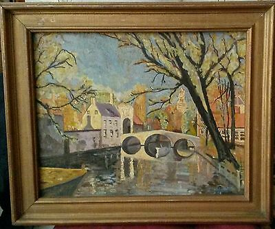 Tableau ancien impressionnisme fauvisme pont de village old french oil painting