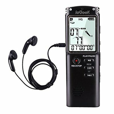 ieGeek Digital Voice Recorder Voice Activated 8GB 1536Kbps Long Life