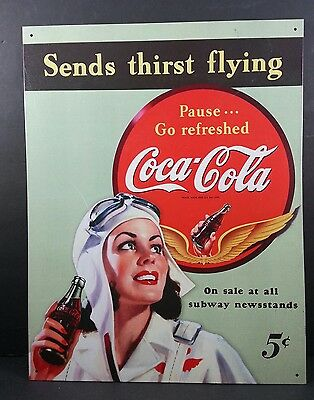VTG LOOK Coca-Cola Tin Sign  COKE SENDS THIRST FLYING 16 X 12 WOMAN 5¢ REFRESHED
