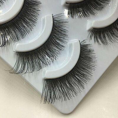 5Pair Soft Makeup Cross Thick False Eyelashes Eye Lashes Nautral Handmade Hot FR