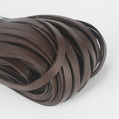 1/2 Meters 10mm Flat Brown Genuine Real Leather Cord 10x2mm String Lace Thong