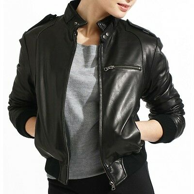 Womens Black Latte Bomber Soft Real Leather Jacket