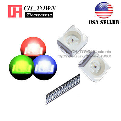 100PCS SMD SMT PLCC-2 1210(3528)RGB Red Green Blue Light Common Anode LED Diodes