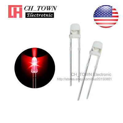 100pcs 3mm Water Clear Self Red Light Blink Blinking Flash LED Diodes Lamp USA