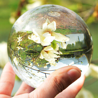 80mm Clear Round Glass Asian Natural Crystal Ball Sphere Decor Christmas Gift