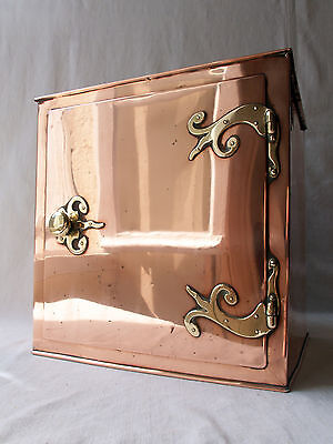 Antique Copper 19thC Plate Warming Box / Cupboard - Wall Mounted - Arts & Crafts