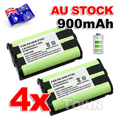 4x 3.6V 900mAh Ni-MH Cordless Phone Battery Replacement For Panasonic HHR-P104