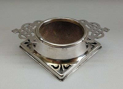 Vintage Edwardian Silver Plate EPNS Tea Leaf Strainer And Drip Stand
