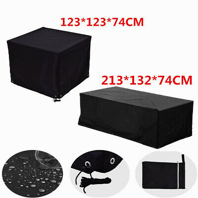 Large Black Waterproof Outdoor Garden Furniture Cover  Rectangle Square Table