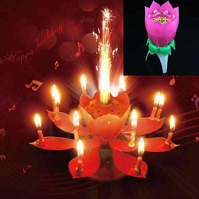 Musical Lotus Flower Birthday Party Candle Lights Kid Cake Decoration