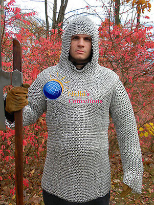 Aluminium Medieval Hauberk Armour Chainmail Shirt With Hood Costumes Dress 10Mm