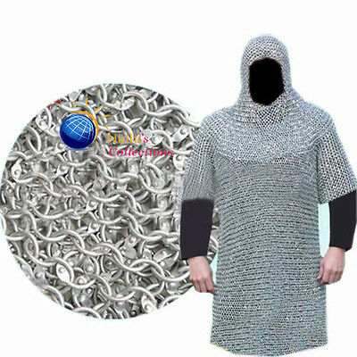 Aluminium Hauberkon Medieval Armour Chainmail Shirt With Hood 10Mm Costumes Sca