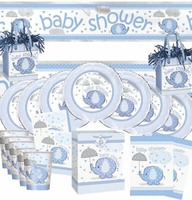 Baby Shower Blue Umbrellaphants Party Pack Kit Decorations Boy Tableware Animal
