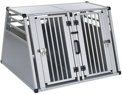 Aluline Double Dog Crate Fence Car Portable Pen Travel Cage Kennel Extra Large