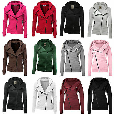 Womens Winter Warm Hoodie Sweatshirt Sports Zipper Hooded Coat Jacket Jumper Top