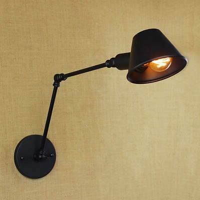 Iron Shade Adjustable Swing Arm Reading Wall Lamp Lights Lighting Fixtures Home
