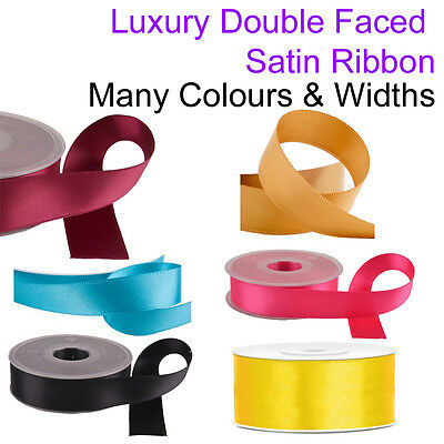Satin Ribbon Gift Wrapping Double Faced Reel Lengths Crafts Present Christmas UK