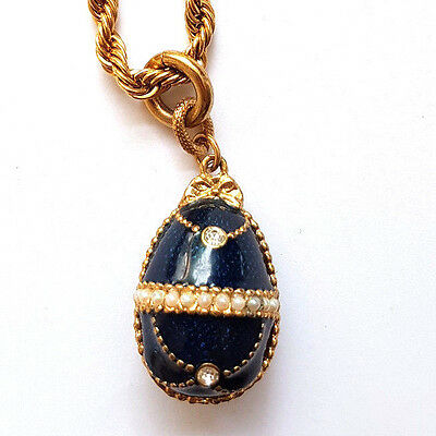 Russian Egg Style Enamel Pendant Necklace