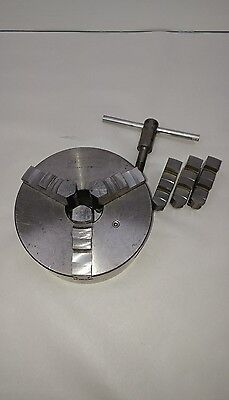 "Bison FPU Bial 6"" lathe chuck with id and od jaws"