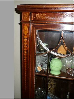 Antique Cabinet Library Bookcase Display Bell Flower String Inlay Sheraton Style