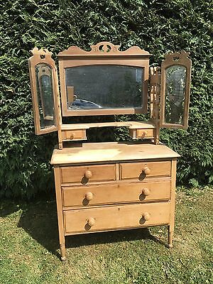 Antique Pine Dressing Table / Chest Triple Mirror NEEDS WORK