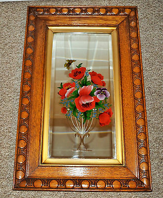 Antique Victorian Mirror glass, etched Hand painted flowers