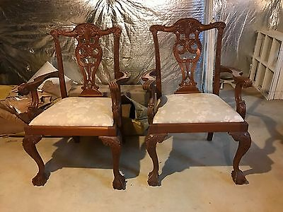 Pair of Chippendale style armchairs, carved, ball and claw feet