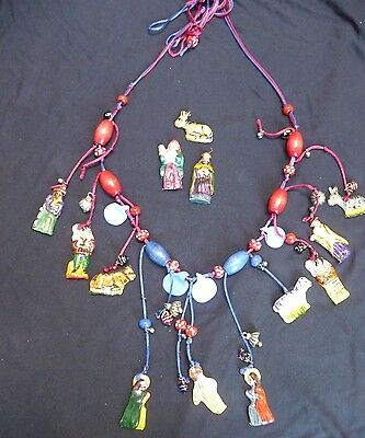 Vintage Mexican Folk Art Necklace Nativity Birth of Jesus Christmas 20 years old
