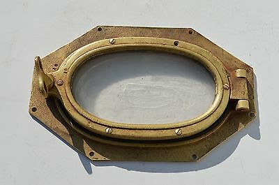 Antique  Nautical Ship Boat Heavy Solid Bronze/brass Octagon Port Hole Window