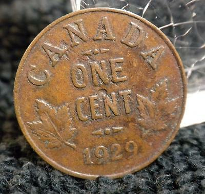Fine Plus 1929 One Cent Canadian Canada Small Penny 1¢ George V World Coin