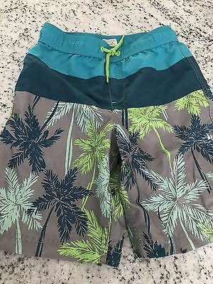 Lands End Boys Swim Trunks Suit, Size M 10-12, Tropical Palm Trees