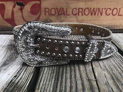 "NOCONA Brown Leather Rhinestone Western Cowgirl Bling Belt Girl's 18"" (XS)"