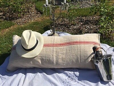 French vintage linen/hemp bean bag, bench cushion sack window seat