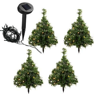 Set of 5 Solar Powered Christmas Trees 10 Warm White LED Lights Decoration 35cm