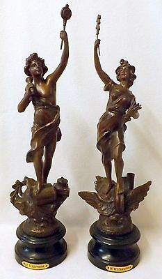 Fabulous Pair of Spelter Figures Le Telephone & Le Telegraph, Industrial