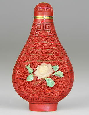 Antique Chinese Cinnabar Lacquer Snuff Bottle Agate Turquoise Inlay Late 19th C.