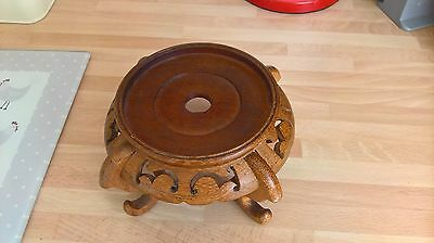 Vintage Oriental Chinese Carved Wood Stand Ideal For Vase Plant Pot Bonsai