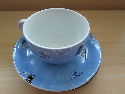 Holland made Tea cup & saucer windmill Country Blue cows dutch boy & girl